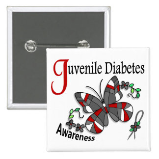Stained Glass Butterfly 2 Juvenile Diabetes Pinback Button