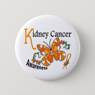 Stained Glass Butterfly 2 Kidney Cancer Pinback Button