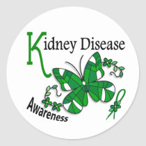 Stained Glass Butterfly 2 Kidney Disease Classic Round Sticker