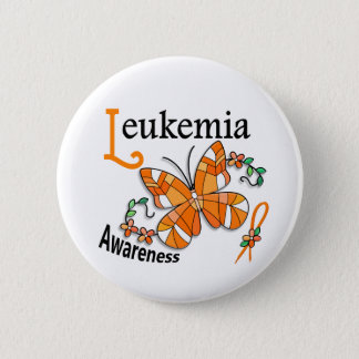 Stained Glass Butterfly 2 Leukemia Button
