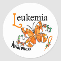 Stained Glass Butterfly 2 Leukemia Classic Round Sticker