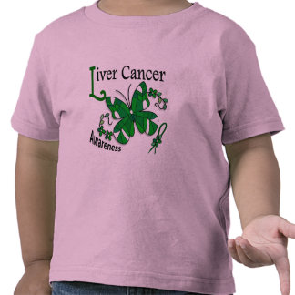 Stained Glass Butterfly 2 Liver Cancer T Shirt