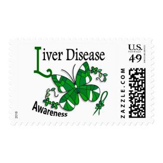 Stained Glass Butterfly 2 Liver Disease Postage