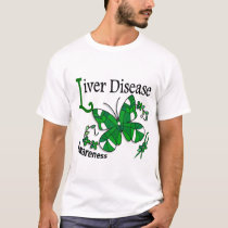 Stained Glass Butterfly 2 Liver Disease T-Shirt