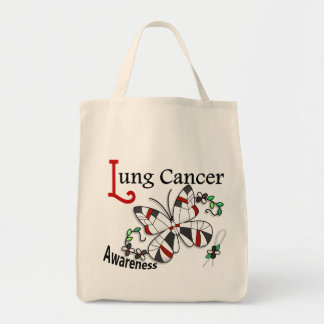 Stained Glass Butterfly 2 Lung Cancer Tote Bag