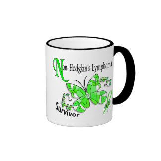 Stained Glass Butterfly 2 Non-Hodgkin's Lymphoma Ringer Mug