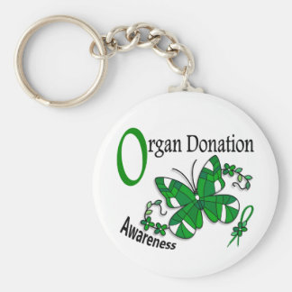 Stained Glass Butterfly 2 Organ Donation Basic Round Button Keychain