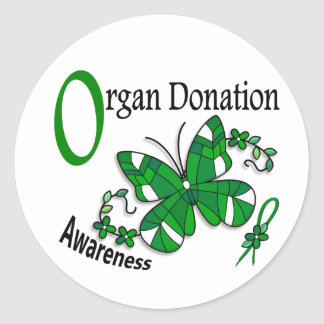 Stained Glass Butterfly 2 Organ Donation Classic Round Sticker