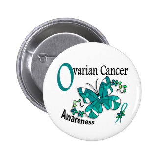 Stained Glass Butterfly 2 Ovarian Cancer Pinback Button