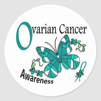 Stained Glass Butterfly 2 Ovarian Cancer Sticker