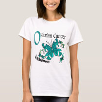 Stained Glass Butterfly 2 Ovarian Cancer T-Shirt