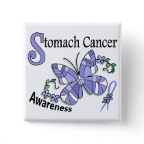 Stained Glass Butterfly 2 Stomach Cancer Button