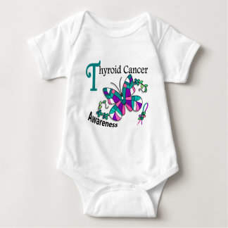Stained Glass Butterfly 2 Thyroid Cancer Baby Bodysuit