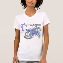 Stained Glass Butterfly 2 Thyroid Disease T-Shirt