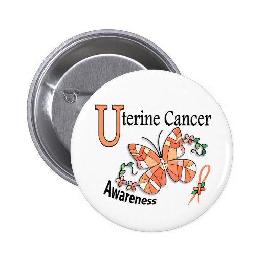 Stained Glass Butterfly 2 Uterine Cancer Pinback Buttons