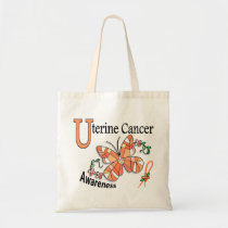 Stained Glass Butterfly 2 Uterine Cancer Tote Bag