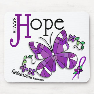 Stained Glass Butterfly Alzheimer's Disease Mouse Pad