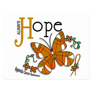 Stained Glass Butterfly Appendix Cancer Postcard