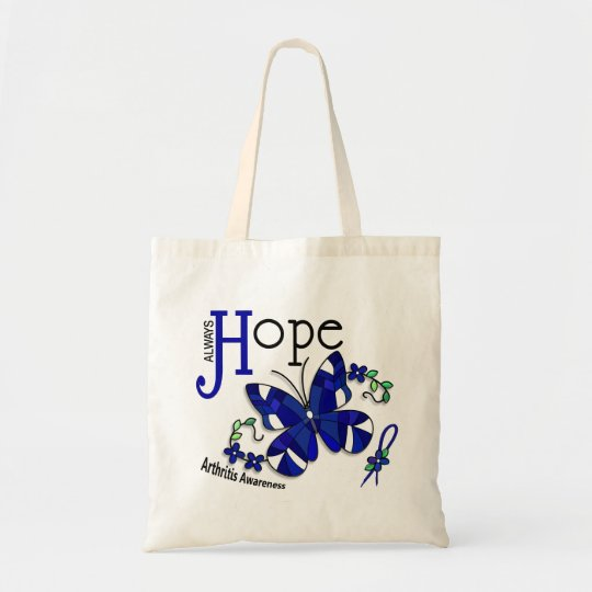 Stained Glass Butterfly Arthritis Tote Bag
