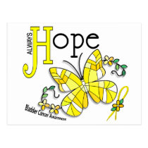Stained Glass Butterfly Bladder Cancer Postcard