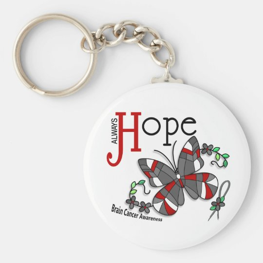Stained Glass Butterfly Brain Cancer Keychain