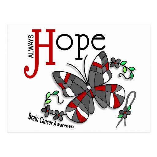 Stained Glass Butterfly Brain Cancer Postcard
