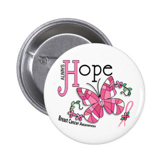 Stained Glass Butterfly Breast Cancer Pinback Button
