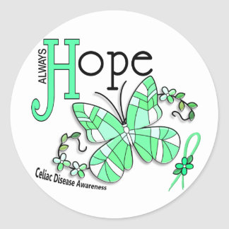 Stained Glass Butterfly Celiac Disease Round Sticker