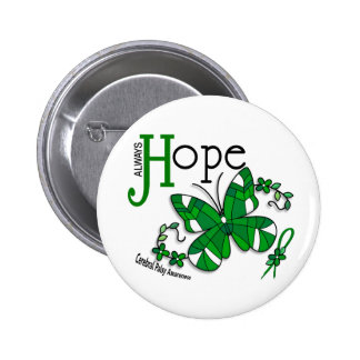 Stained Glass Butterfly Cerebral Palsy Pinback Button