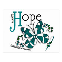 Stained Glass Butterfly Cervical Cancer Postcard