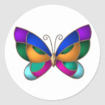 Stained Glass Butterfly Classic Round Sticker