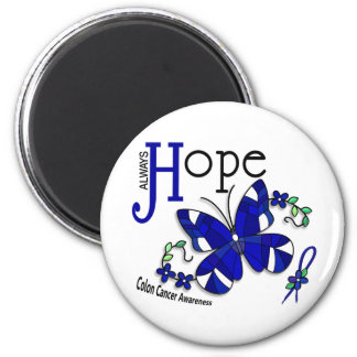 Stained Glass Butterfly Colon Cancer 2 Inch Round Magnet