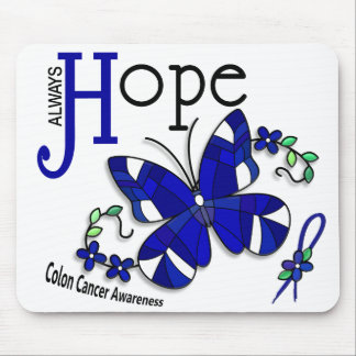 Stained Glass Butterfly Colon Cancer Mouse Pad