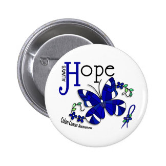 Stained Glass Butterfly Colon Cancer Pinback Button