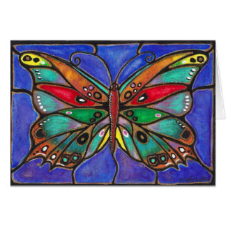 Stained Glass Butterfly--cool art to wear or give! Greeting Card