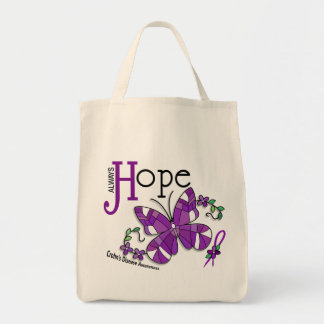 Stained Glass Butterfly Crohn's Disease Canvas Bags