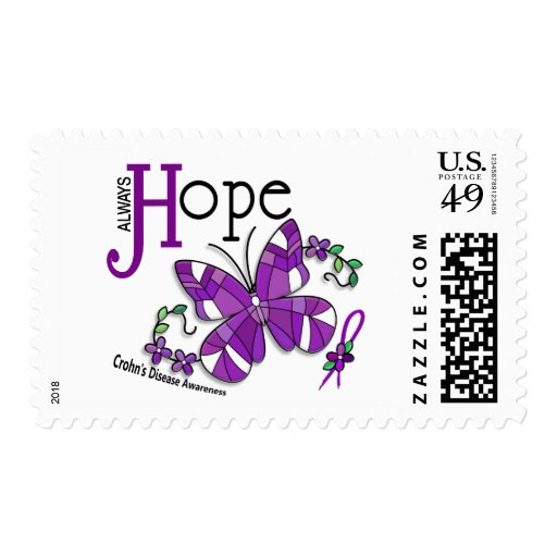 Stained Glass Butterfly Crohn's Disease Postage