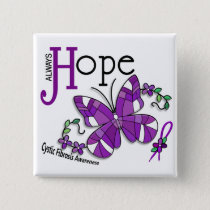 Stained Glass Butterfly Cystic Fibrosis Pinback Button