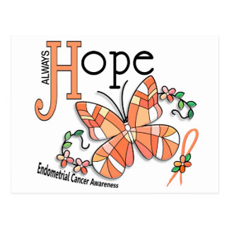 Stained Glass Butterfly Endometrial Cancer Postcard
