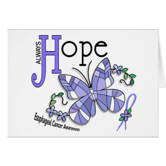 Stained Glass Butterfly Esophageal Cancer Greeting Card