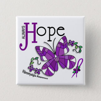 Stained Glass Butterfly Fibromyalgia Button