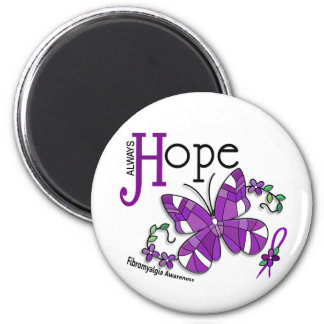 Stained Glass Butterfly Fibromyalgia 2 Inch Round Magnet