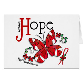 Stained Glass Butterfly Heart Disease Greeting Card
