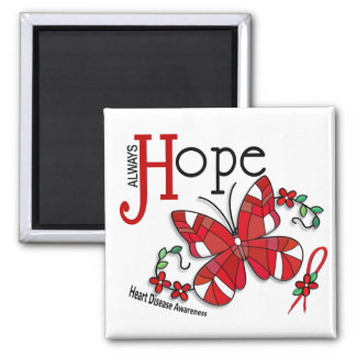 Stained Glass Butterfly Heart Disease Magnet