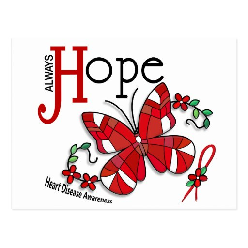 Stained Glass Butterfly Heart Disease Postcard