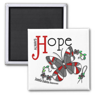 Stained Glass Butterfly Juvenile Diabetes 2 Inch Square Magnet