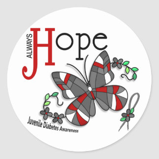 Stained Glass Butterfly Juvenile Diabetes Classic Round Sticker