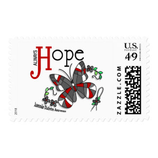 Stained Glass Butterfly Juvenile Diabetes Postage Stamps