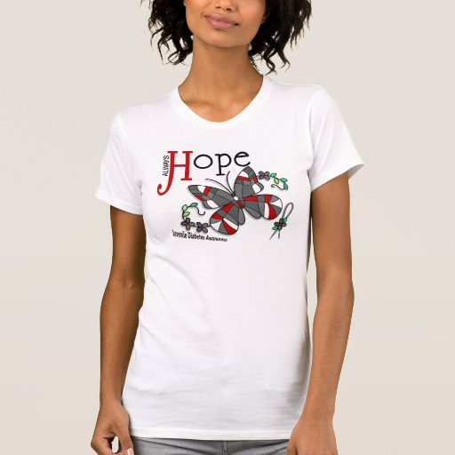 Stained Glass Butterfly Juvenile Diabetes T-Shirt