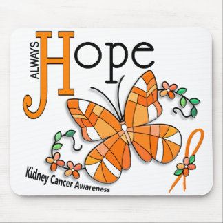 Stained Glass Butterfly Kidney Cancer Mouse Pad